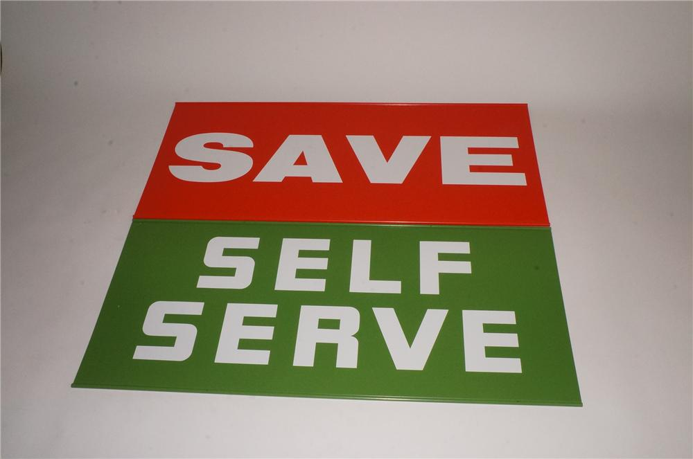 "N.O.S. 1960's Texaco set of two service station double-sided tin signs ""Save"" and ""Self Serve"". - Front 3/4 - 163082"