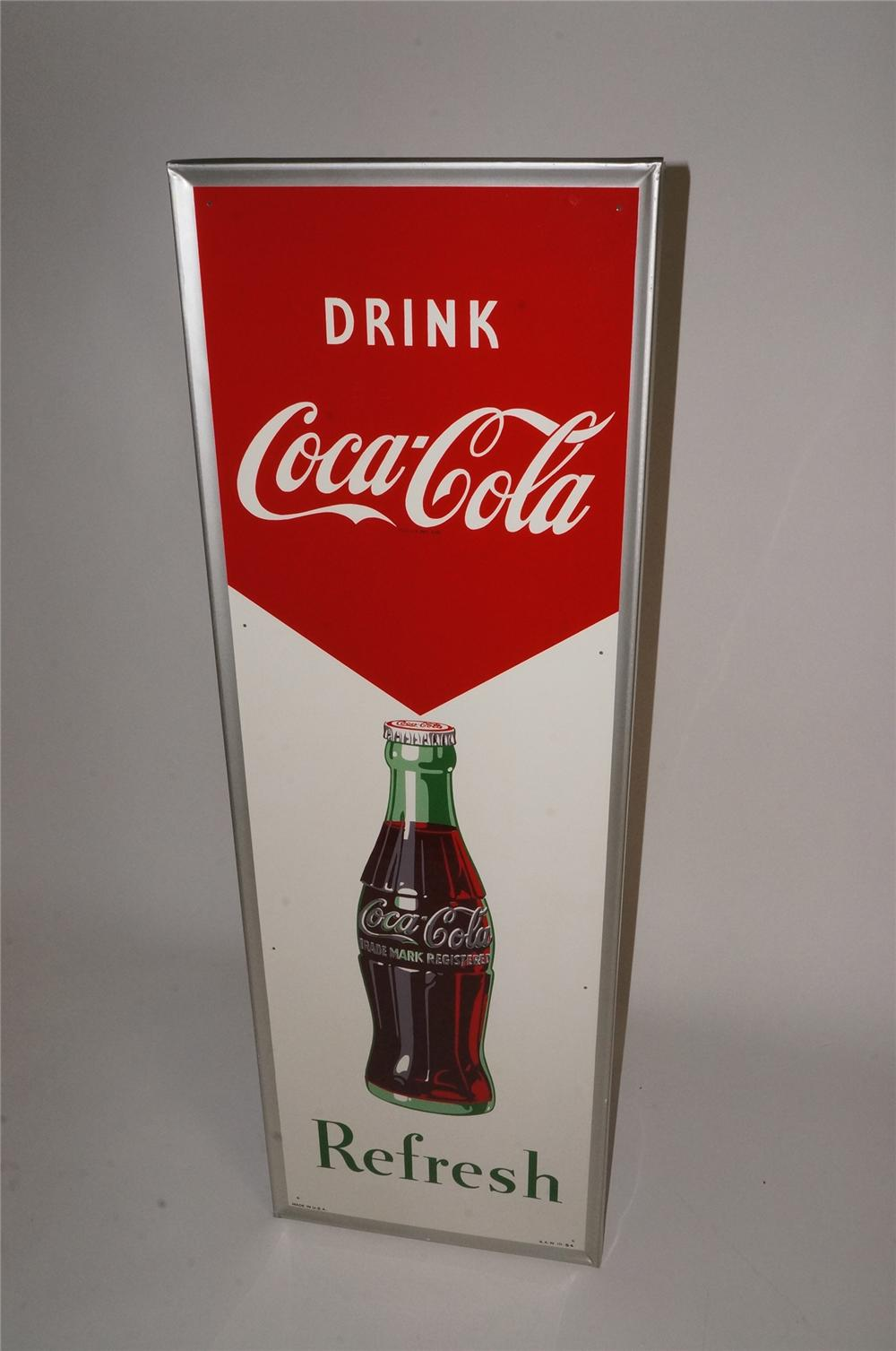 "N.O.S. 1954 Drink Coca-Cola ""Refresh"" self framed vertical tin sign with bottle graphic! - Front 3/4 - 163084"