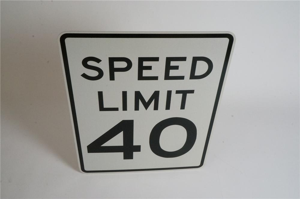 N.O.S. Speed Limit 40 metal highway road sign never used! - Front 3/4 - 163086