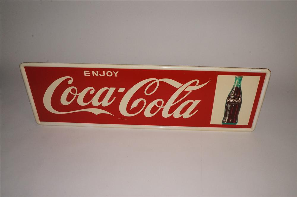 N.O.S. late 1950's Enjoy Coca-Cola tin sign with bottle graphic. - Front 3/4 - 163088