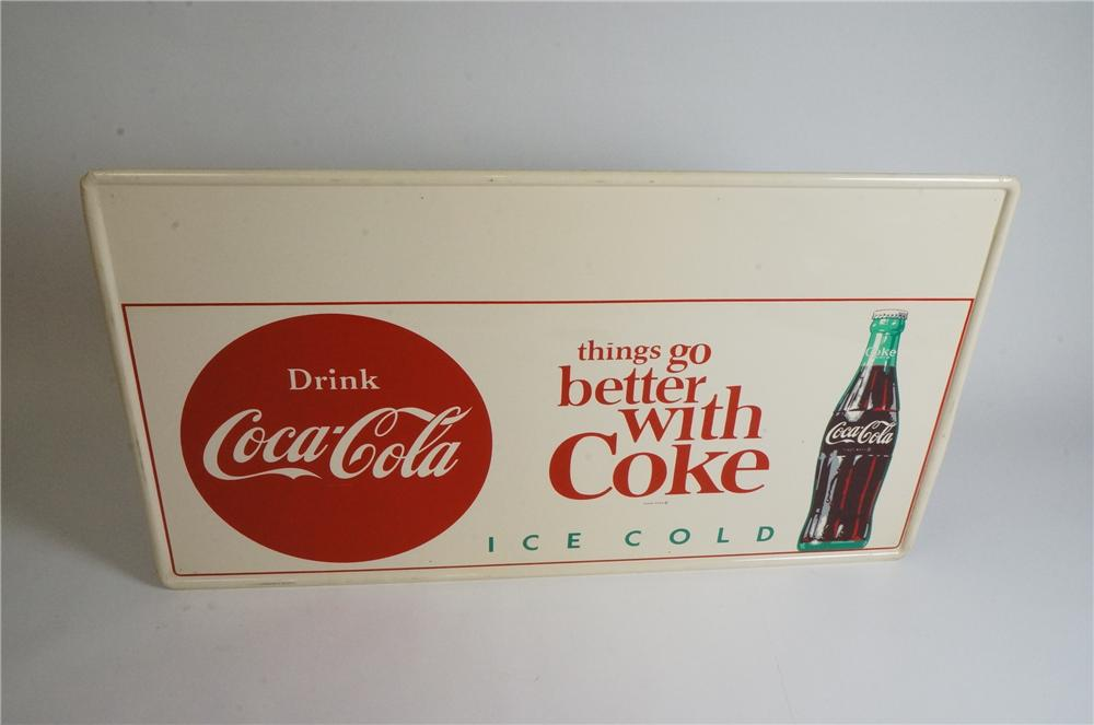 Large rare version late 1950's Drink Coca-Cola - Things Go Better With self-framed tin sign with bottle graphic. - Front 3/4 - 163092