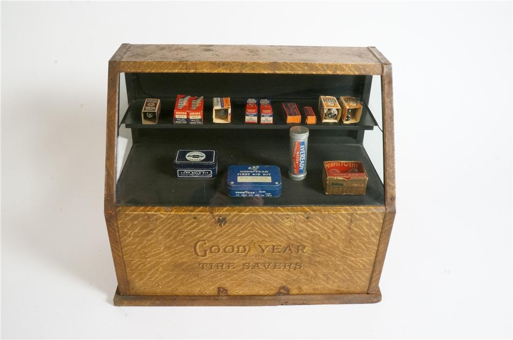 1930's Good Year Tire Savers automotive garage counter-top display showcase filled with period product inside. - Front 3/4 - 163098