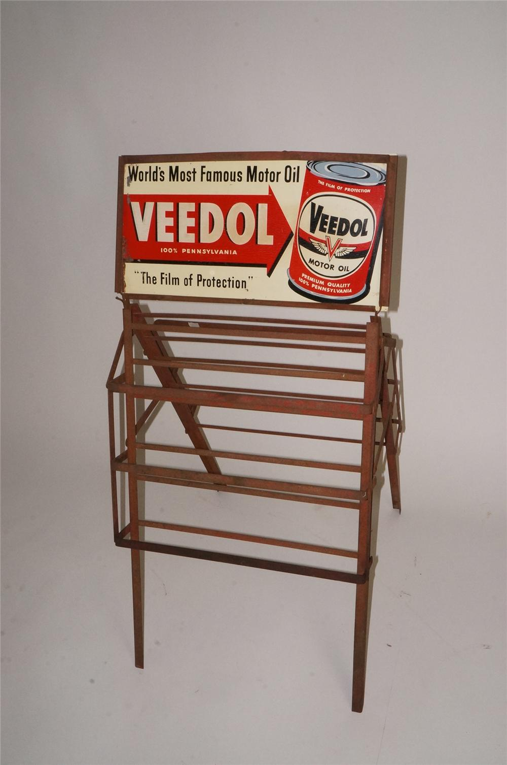 1940's Veedol Motor Oil double-sided tin service can quart can rack with nice graphics. - Front 3/4 - 163101