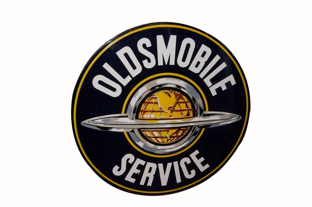 Large 1950's Oldsmobile Service double-sided porcelain dealership sign with globe logo. - Front 3/4 - 163103