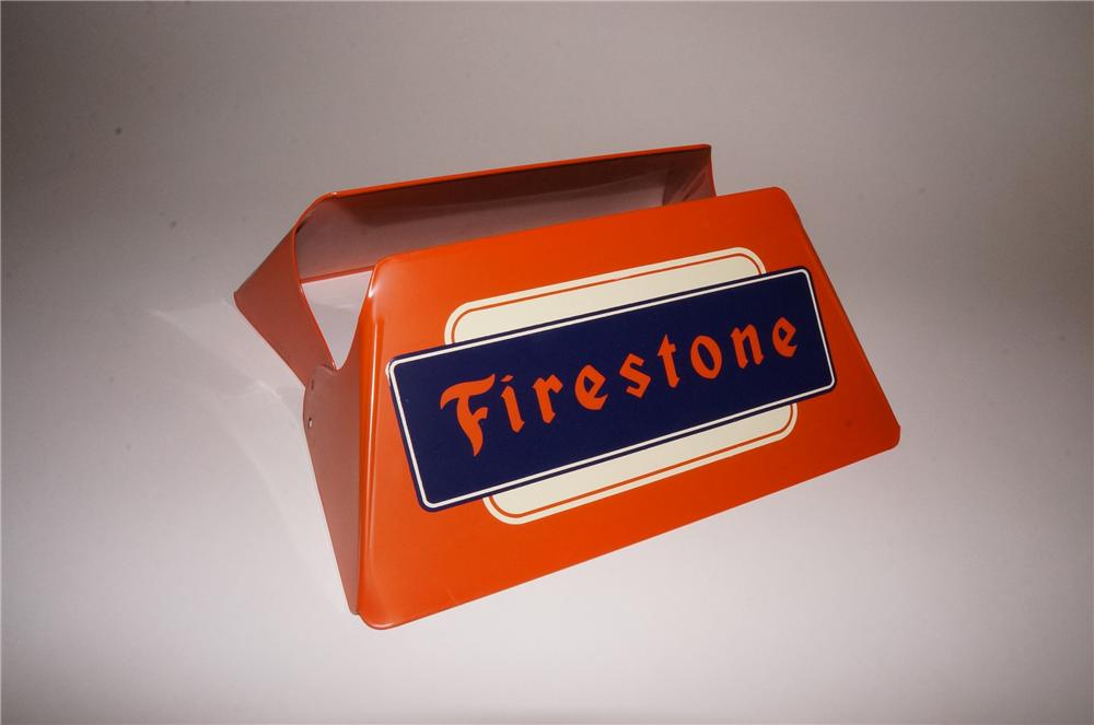 N.O.S. 1950's Firestone Tires service station metal tire display. - Front 3/4 - 163104