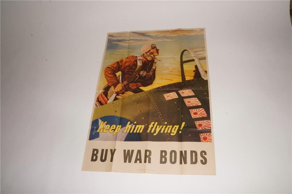 """Beautiful 1943 Keep Him Flying """"Buy War Bonds' World War II poster with aviator depicted. - Front 3/4 - 163110"""
