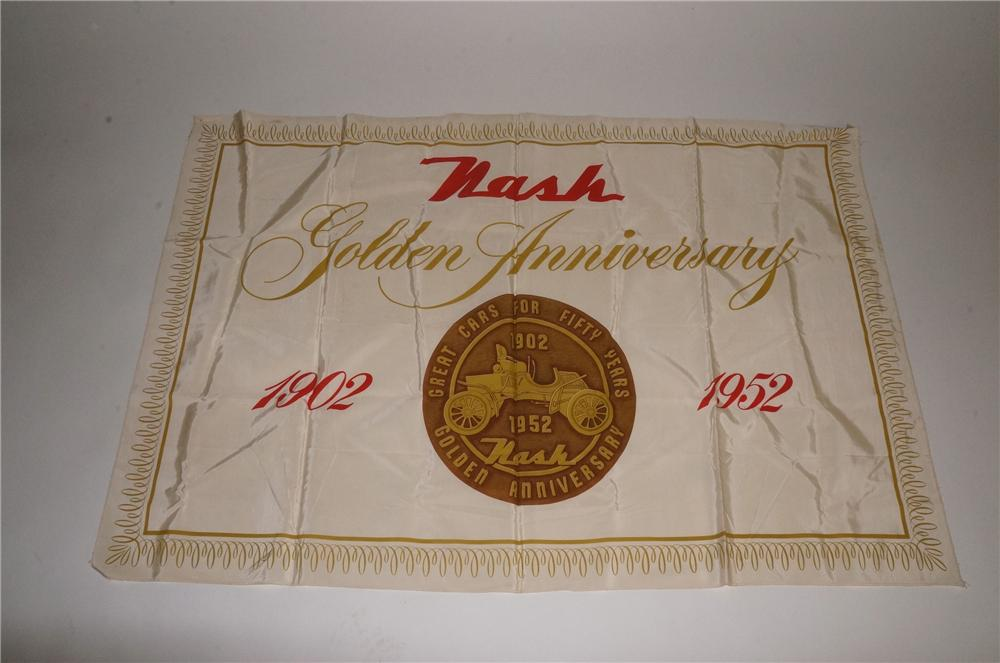 "1952 Nash Automobiles ""Golden Anniversary"" showroom silk banner sign. - Front 3/4 - 163112"