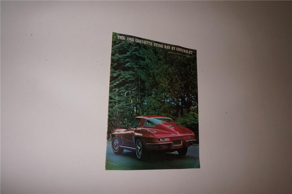 N.O.S. 1966 Corvette Sting Ray by Chevrolet eight page showroom sales color brochure. - Front 3/4 - 163113