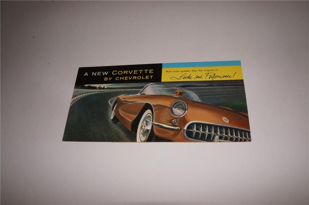 "1956 Chevrolet ""A New Corvette"" tri-foldout showroom sales color brochure. - Front 3/4 - 163118"