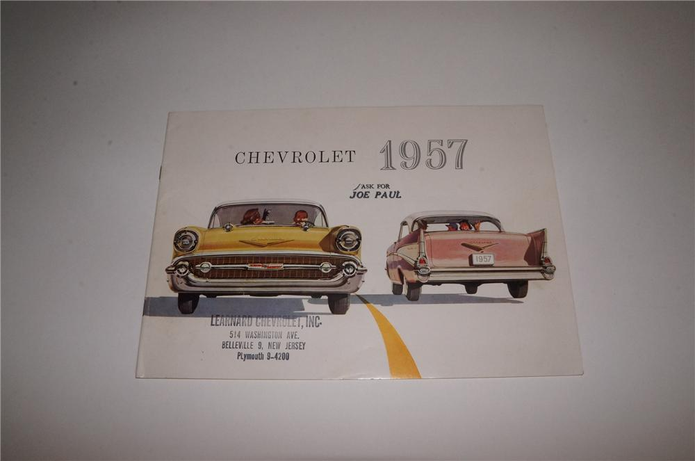 N.O.S. 1957 Chevrolet 24 page showroom sales brochure covering the entire line-up of new models and features. - Front 3/4 - 163119