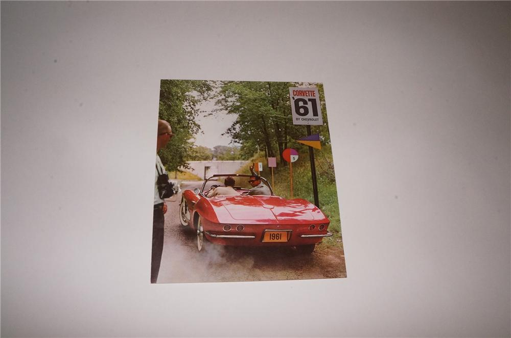 "N.O.S. 1961 Chevrolet Corvette tri-fold showroom sales color brochure.  Condition: 9.25-9.5  Size 9""x10"" - Front 3/4 - 163122"