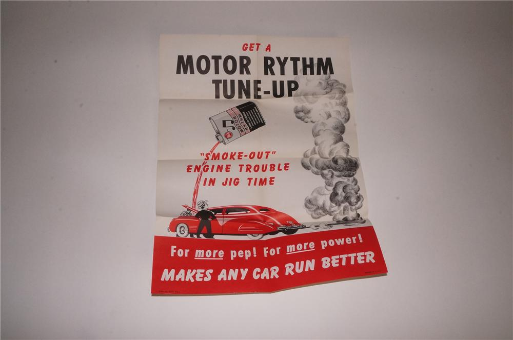 N.O.S. 1940's-50's Whiz Motor Rhythm automotive garage poster with wonderful graphics! - Front 3/4 - 163127