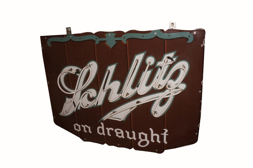 Striking 1940's Schlitz Beer on Draught single-sided neon porcelain tavern sign. - Front 3/4 - 163133