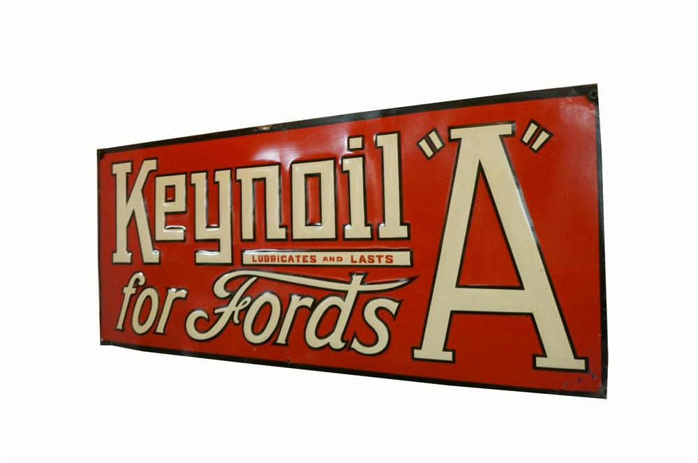 "Rare N.O.S. late 1920s KeynOil (White Eagle) for Fords Model ""A"" embossed tin filling station sign. - Front 3/4 - 163134"
