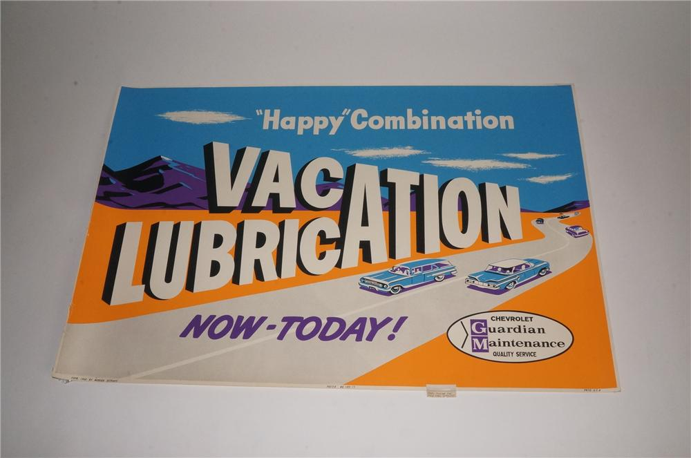 "N.O.S. 1960 Chevrolet ""Vacation Lubrication"" service department display poster with highway motif. - Front 3/4 - 163151"