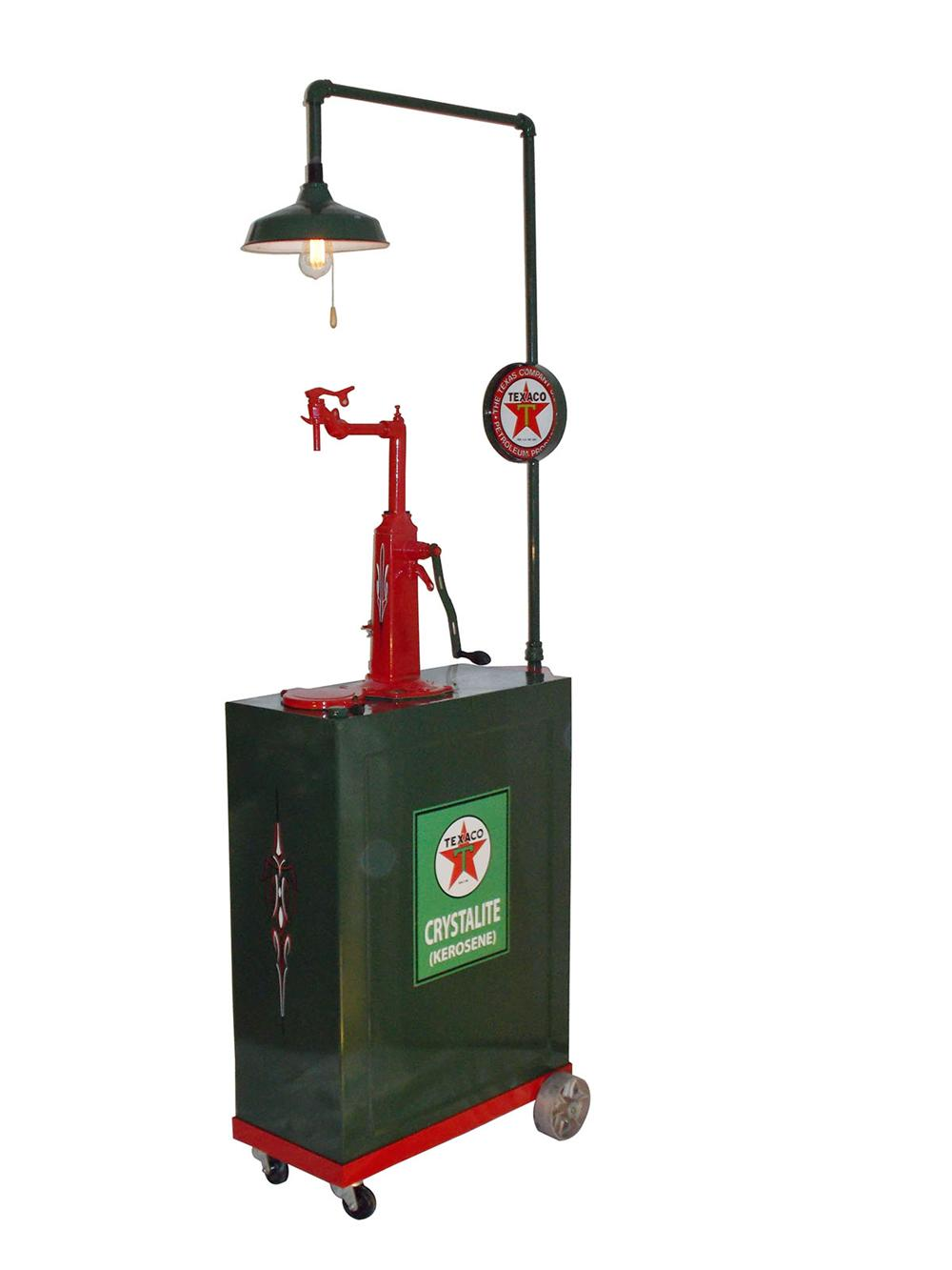 Nicely restored 1920's-30's Texaco Oil 30 gallon filling station lubester with station lighter.  Beautifully restored. - Front 3/4 - 163152