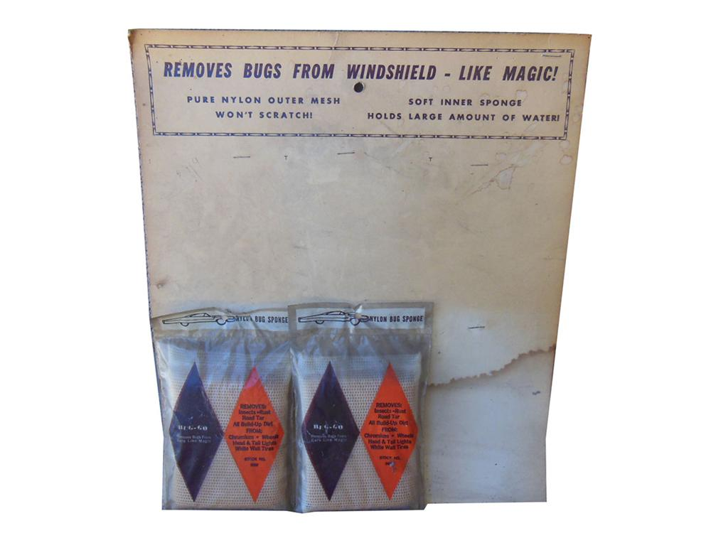 "Vintage 1960's Bug-Go ""Windshield Bug Removal Cloth"" store display with two N.O.S. cloths attached. - Front 3/4 - 163157"