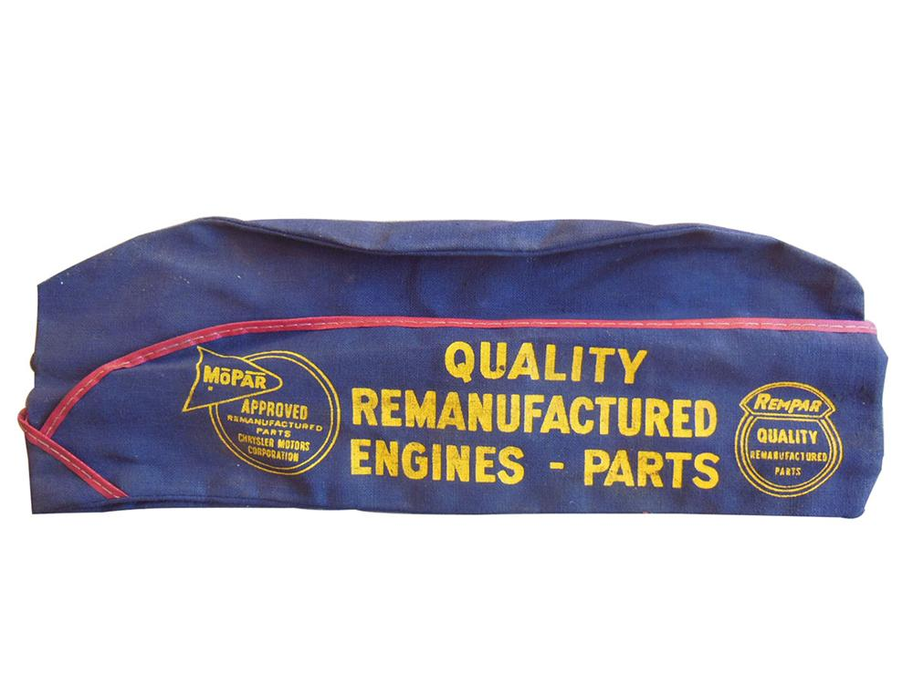 N.O.S. 1950's Mopar Mechanic's Cap found unused with Mopar product advertising on it. - Front 3/4 - 163162