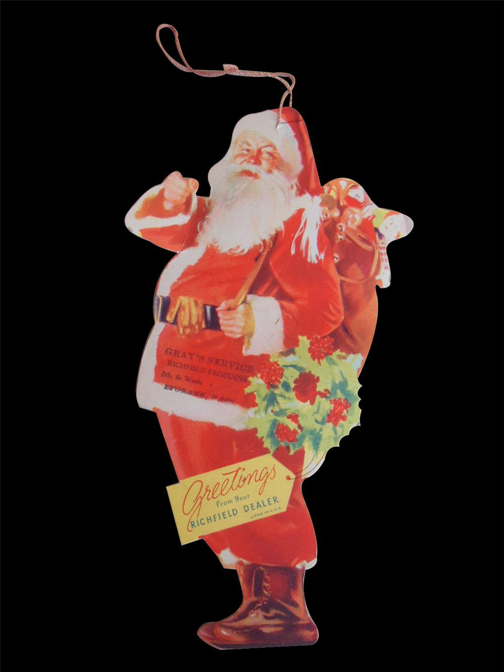 N.O.S. Richfield Oil Holiday Tree Ornament of Santa.  Nice single-sided die-cut cardboard of Santa. - Front 3/4 - 163164