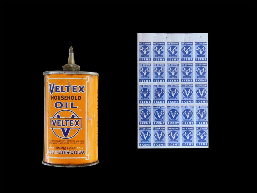 Hard to find original Veltex handy oiler with a full sheet of 25 N.O.S. Veltex gad discount stamps. - Front 3/4 - 163167