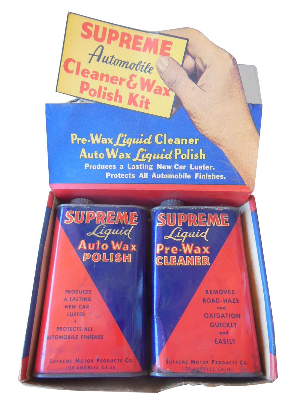 Wonderful 1930's-40's Supreme Automobile Cleaner and Wax Polish Kit store display with two original tins.  Very nice! - Front 3/4 - 163169