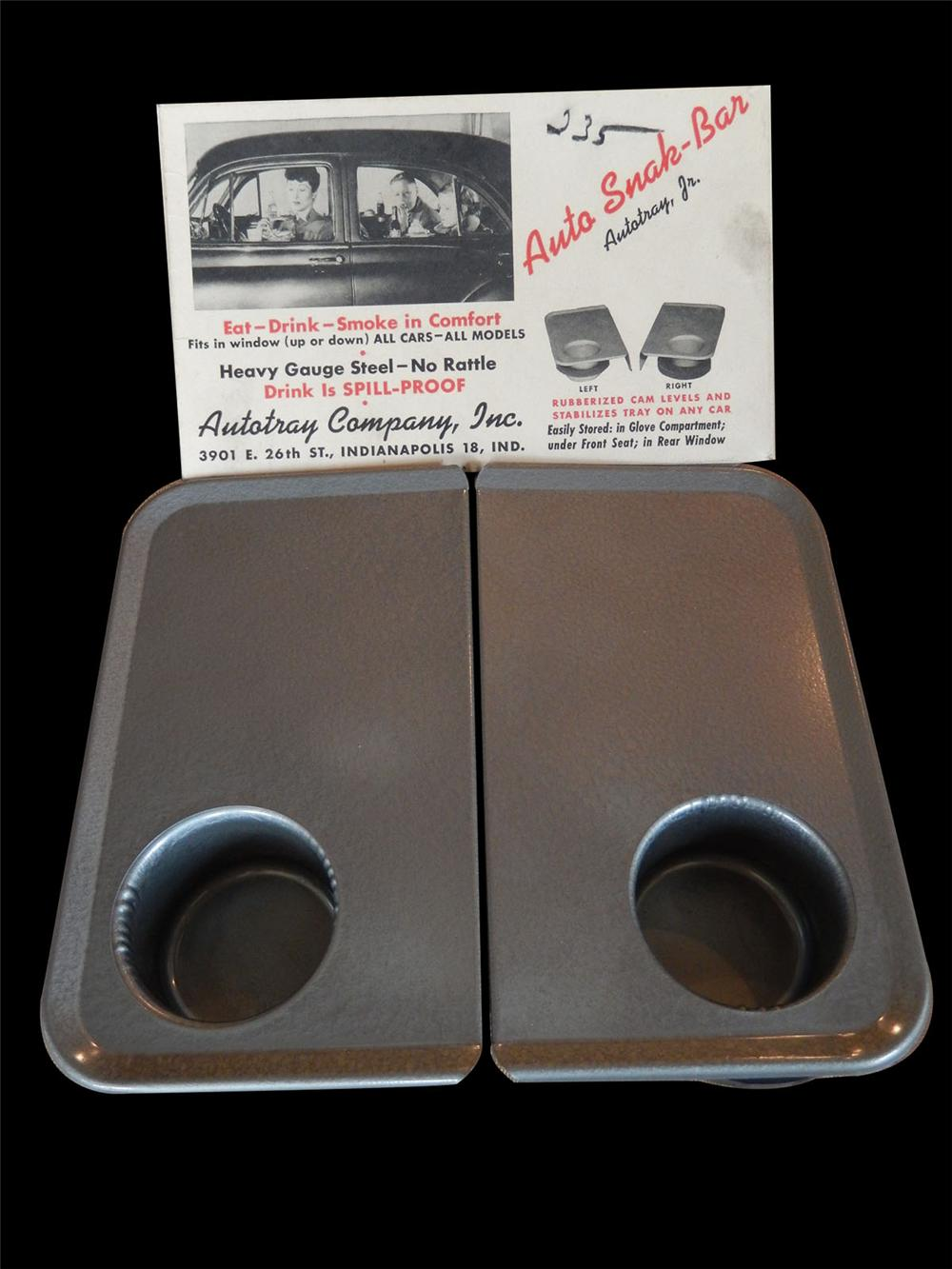 Neat 1950's Auto Snak Bar Automobile tray set store display found in unused condition. - Front 3/4 - 163170
