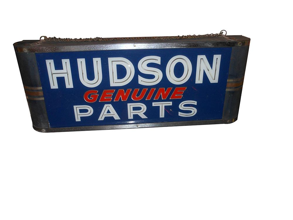 Very unusual 1940's Hudson Genuine Parts light-up display sign in good working order. - Front 3/4 - 163172