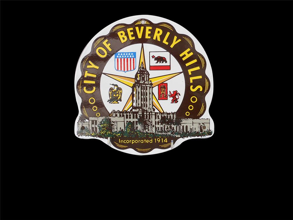 1940's-50's City of Beverly Hills porcelain vehicle door sign. - Front 3/4 - 163175