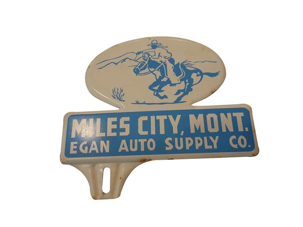 1930's-40's Miles City Montana license plate attachment sign with cowboy graphic.  Very nice! - Front 3/4 - 163177