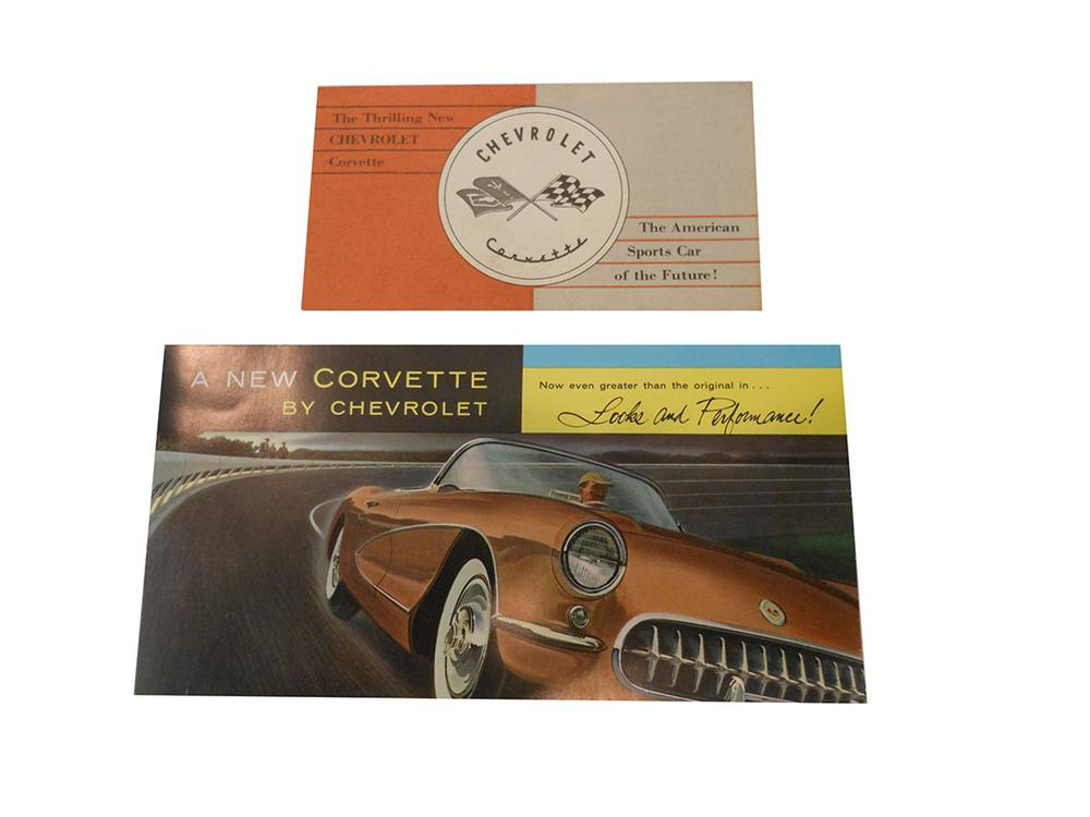Lot of two vintage Corvette fold out sales brochures.  Smaller is for the 1953 Corvette and larger is for the 1956. - Front 3/4 - 163179