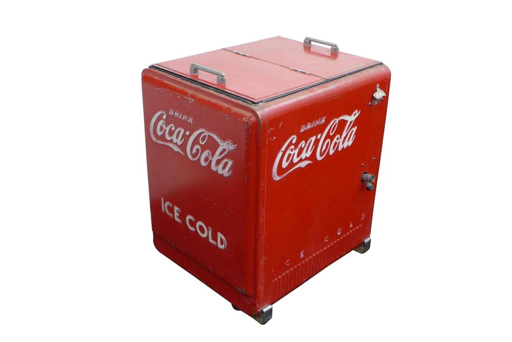 All original 1940's Coca-Cola Cavalier service station soda cooler with refrigerated water style of cooling. - Front 3/4 - 163183