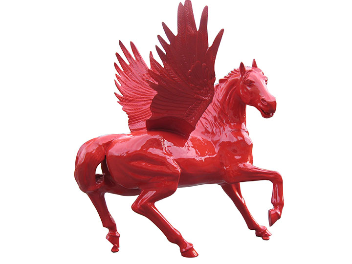 Large Cast Metal Pegasus restored in Mobil red circa unknown. - Front 3/4 - 163184