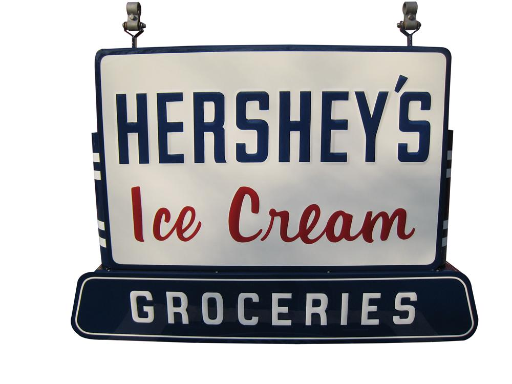 "Large restored 1950's Hershey's Ice Cream ""Groceries"" double-sided tin sign with original hangers!  Beautiful! - Front 3/4 - 163187"