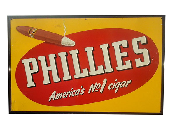 1940's Phillies Cigars embossed tin sign with nice graphics. - Front 3/4 - 163190