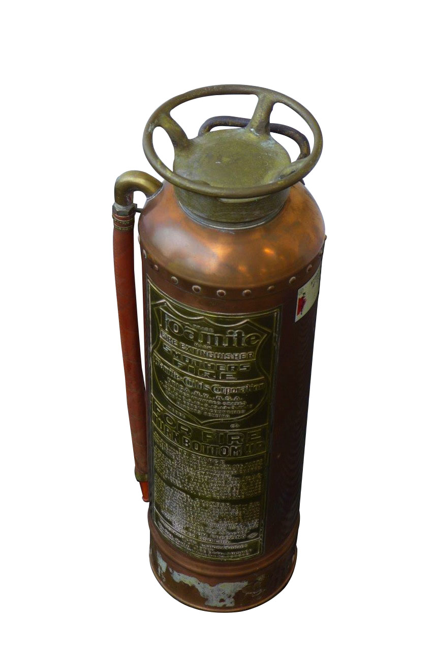 1920's-30's Foamite Copper and Brass filling station fire extinguisher.  Found in all original condition. - Front 3/4 - 163196