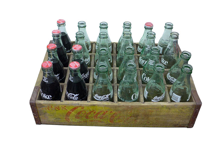 One original case of Coca-Cola bottles which will work in a 44, 81 or cooler along with several other bottles. - Front 3/4 - 163197