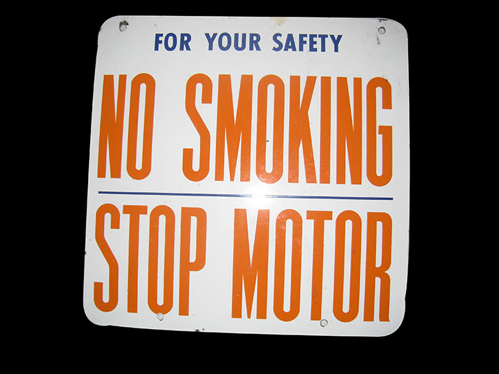 "Sharp 1950's Union 76 ""No Smoking - Stop Engine"" single-sided porcelain fuel island sign. - Front 3/4 - 163205"