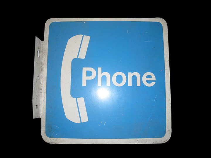 1960's Public Telephone double-sided tin flange sign. - Front 3/4 - 163206