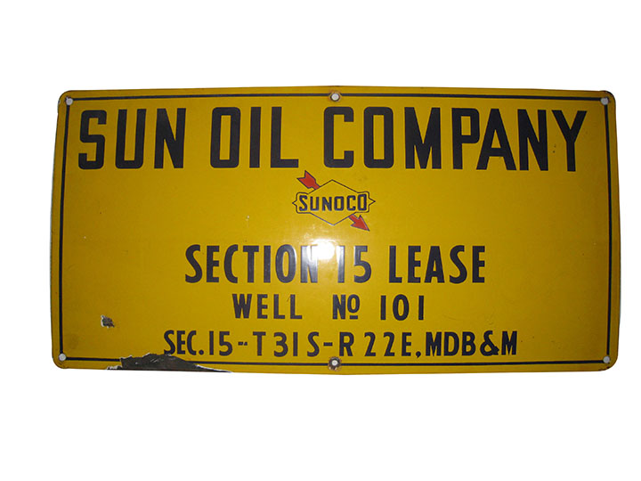 1950's Sun Oil Company (Sunoco) single-sided porcelain oil well sign. - Front 3/4 - 163207