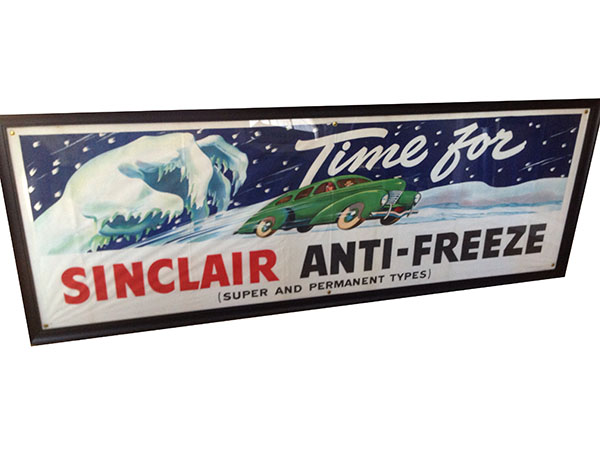 Stunning 1930's-40's Sinclair Anti-Freeze service station canvas banner with outstanding artwork. - Front 3/4 - 163223