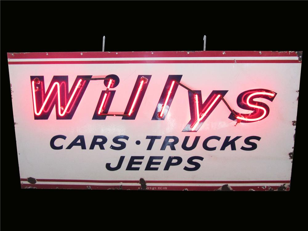 Sharp 1940's-50's Willy's Cars-Trucks-Jeeps single-sided porcelain neon dealership sign. - Front 3/4 - 163224