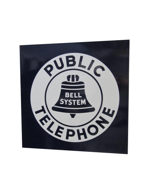 Very clean 1930's-40s Bell System Public Telephone porcelain flange sign. - Front 3/4 - 163229