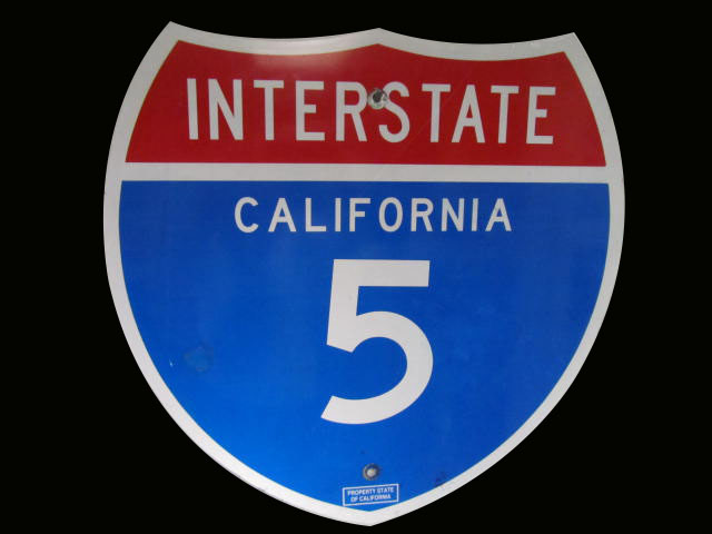 Very clean California Interstate #5 highway metal road sign. - Front 3/4 - 163230