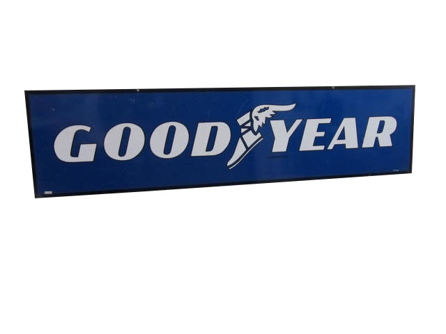 N.O.S. Goodyear Tires horizontal tin sign with winged foot logo. - Front 3/4 - 163234