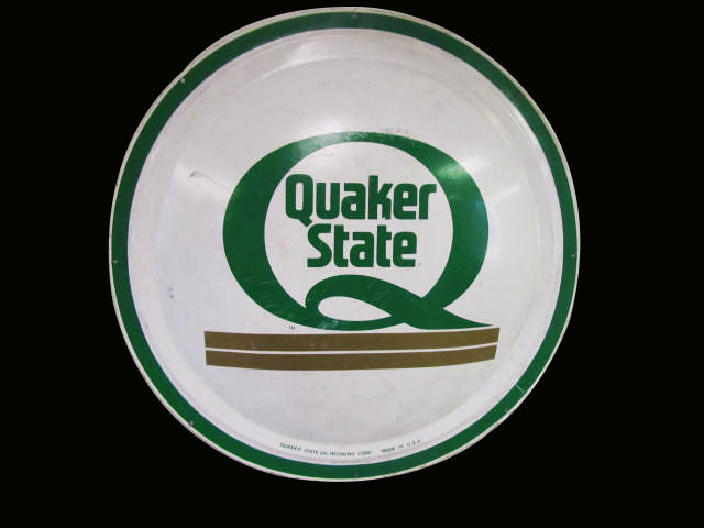 N.O.S. 1968 Quaker State Motor Oil concave tin button sign. - Front 3/4 - 163235