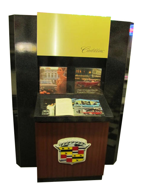 Early 1970's Cadillac Showroom Brochure Display with Cabinet. - Front 3/4 - 163236