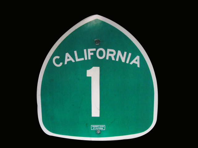 "Vintage California Highway 1 ""Pacific Coast Highway"" metal highway road sign. Surfs Up! - Front 3/4 - 163237"