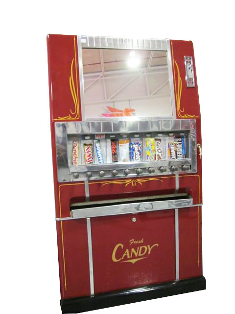 Sharp 1950's cinema/service station restored ten selection coin-operated candy machine.  Great for use or display. - Front 3/4 - 163246