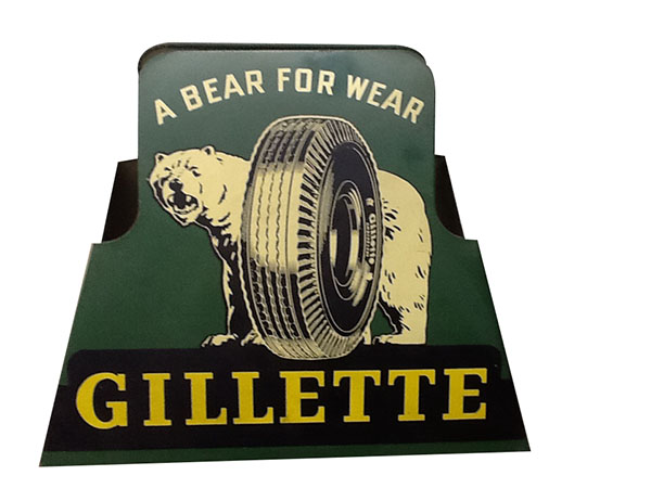 "Highly desirable 1940's Gillette Tires ""A Bear for Wear"" double-sided tin automotive garage tire display. - Front 3/4 - 163253"