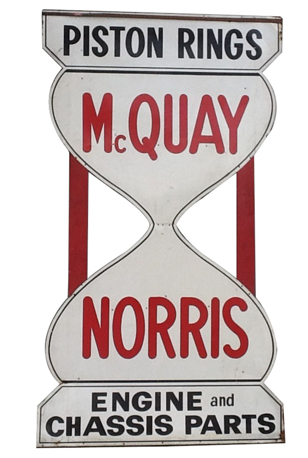 Large 1950's Mcquay Norris die-cut tin wood framed automotive garage sign. - Front 3/4 - 163254